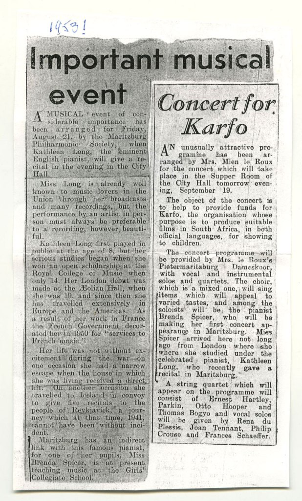 Kathleen Long 1953 newspaper clipping